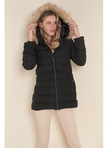 Z Giyim Kapşonlu Uzun Şişme Mont Siyah